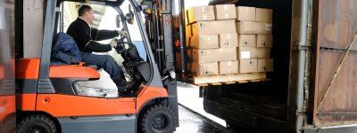 forklift hauling cargo